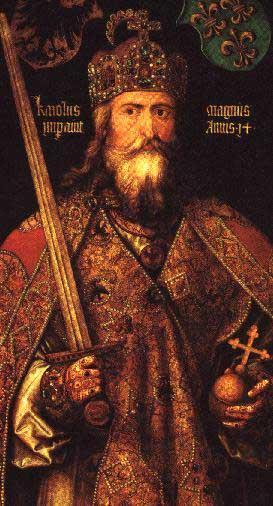 Charlemagne Charlemagne (King Charles) became king in 768 AD. He expanded the practice of giving land to his nobles in change for their promises of loyalty and service.