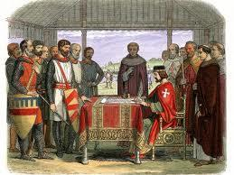 Magna Carta In 1215, the English nobles (barons) rebelled against the taxes and forced loans being collected by King John.