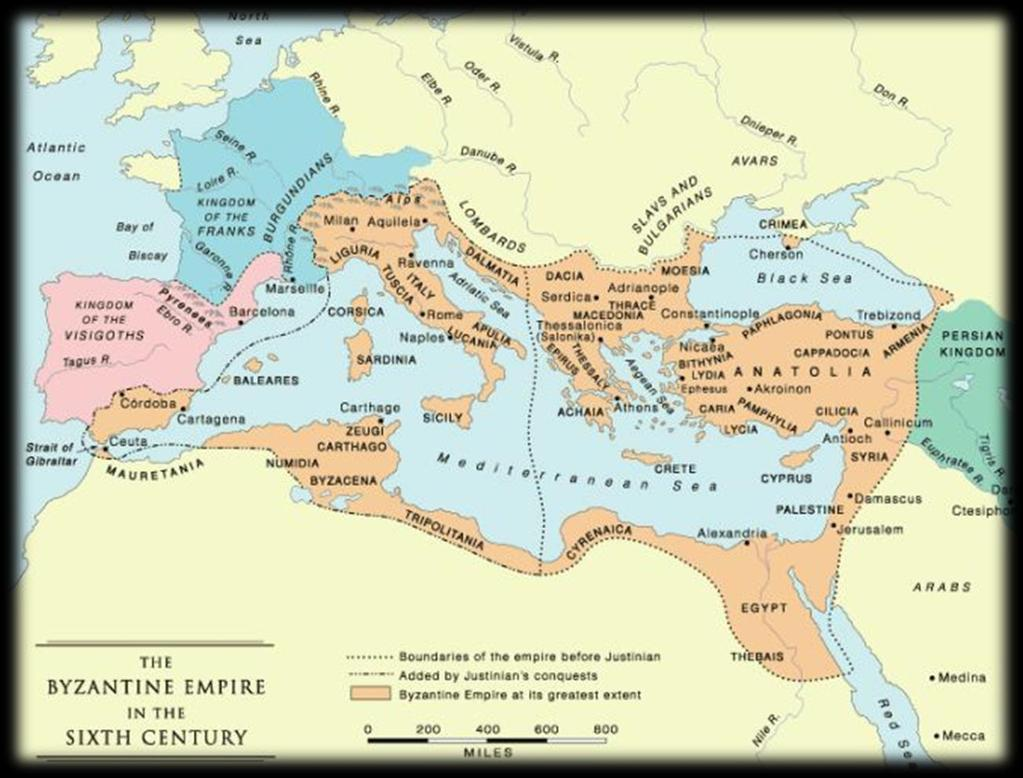 Byzantine Empire Constantine moved the capital of the Roman Empire from Rome to Byzantium, a Greek city