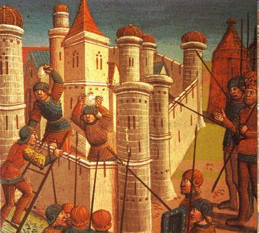 Siege of Constantinople The siege of Constantinople began on April 6, 1453, with 50,000 Ottoman troops facing off against only 8,500 Byzantine troops.