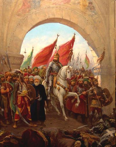 On May 29, 1453, after 54 days of battle, Sultan Mehmed II entered Constantinople and prayed at Hagia Sophia, which was built by the Emperor Constantine, and was the oldest Byzantine church in the