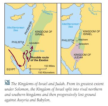 After the death of Solomon, Kingdom of Israel split into two (north= Israel; south= Judah) Israel was conquered by Assyrians in 722 BCE and the scattered people were known as the Lost Tribes of