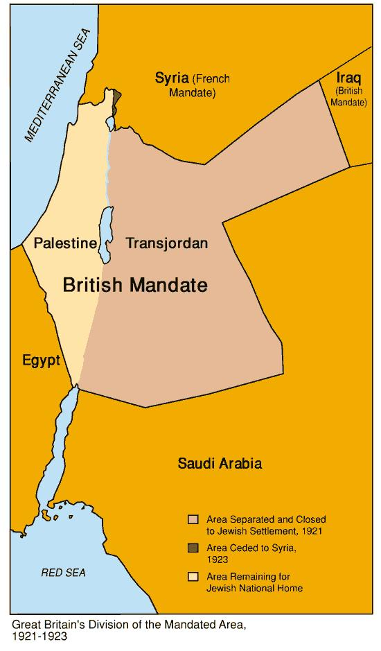 British Mandate of Palestine 1922 to 1948 1922 Britain received the League of Nations Mandate over Palestine 1937 Britain proposed a separation of the Mandate are between Jews & Arabs (The Arabs