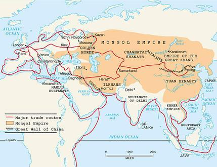 Trade routes opened up between China & Eastern Europe Absolute power of the Mongols served as a model for later Russian rulers Russia