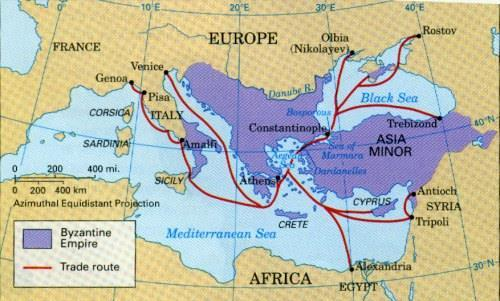 CONSTANTINOPLE Crossroads of Europe and Asia Connected to 3 continents by caravan tracks, rivers, seaways and roads The Byzantine Empire Controlled