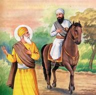 The all-knowing (jwxi jwx) Sri Guru Nanak Dev Ji came to the outskirts of Kartarpur Sahib to greet Bhai Lehna Ji.