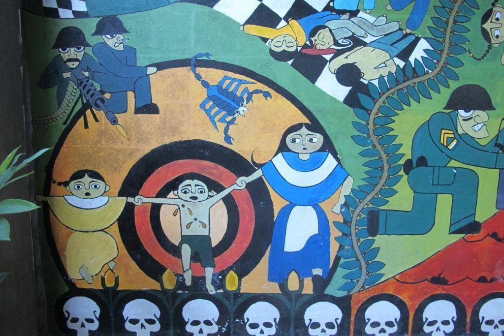 reach. A mural shows the violence of the Salvadoran civil war (1980-1992), when the army waged a scorched earth policy against communities caught in the conflict zones.