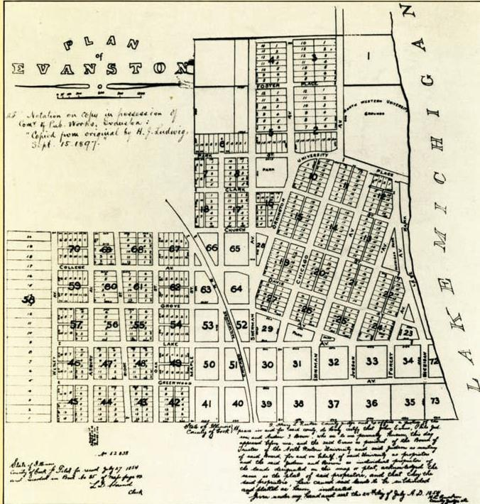 Evanston as Planned in 1854 NU Campus