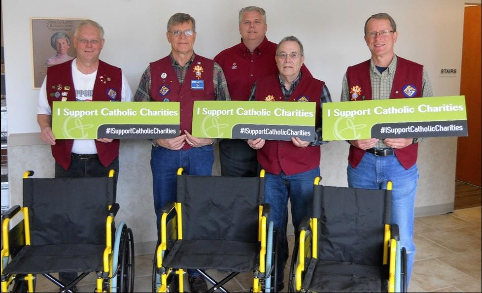 Page 6 Wheelchair Distribution to Catholic Charities Pictured above with Catholic Charities President and CEO Rob McCann are Council members Greg Loberg, Don Patchett, Don Baldwin, and Denny Bunkers