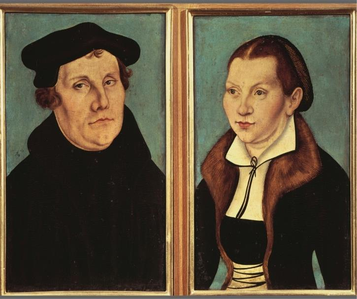 Martin Luther and Katherina von Bora This double portrait of Martin Luther and his wife was done by Lucas Cranach the Elder in 1529.