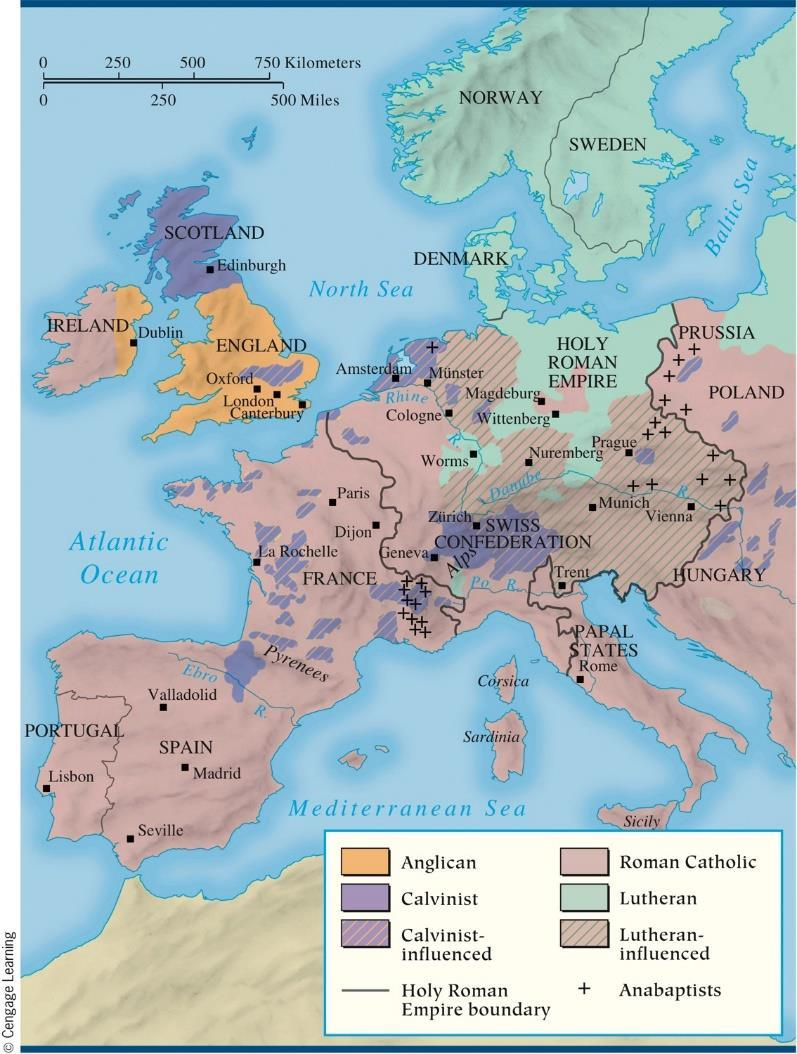 Catholics and Protestants in Europe by 1560 The Reformation continued to evolve beyond the basic split of the Lutherans from the Catholics.