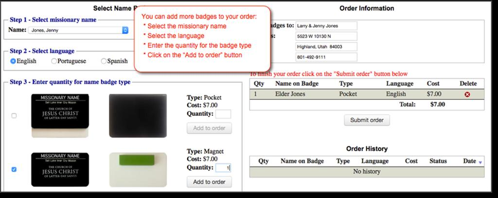 Review and submit your order: After you have added all of the name badges that