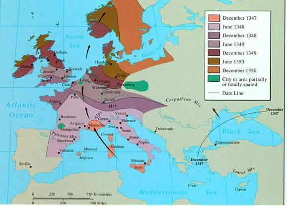 With the Crusades comes The Black Death spreads along trade routes kills much of the