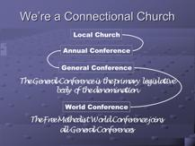 Slide 17 The General Conference The general conference is the primary legislative body of the denomination.* The general conference meets every 4 years and is the denomination s law-making body.