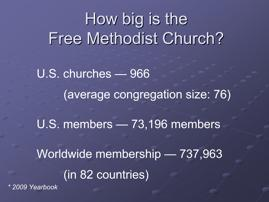 Slide 3 U.S. churches 966 (average congregation size: 76) U.S.