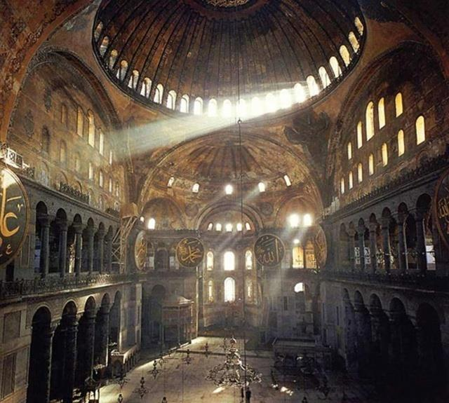 Interior of Hagia Sophia Built as a church, then used as a mosque (added minarets)