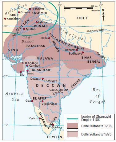 Delhi-based Muslim kingdom large parts of India 320 years (1206 1526).