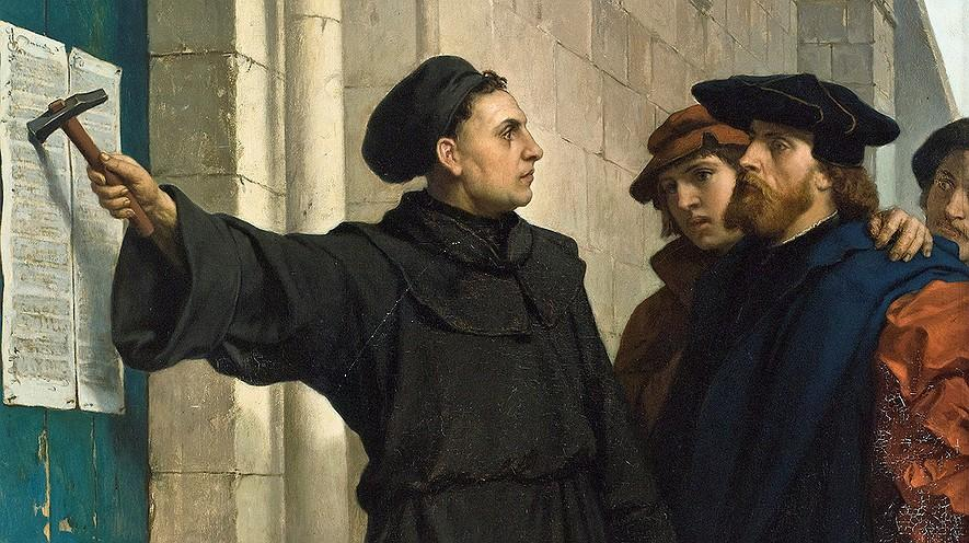 The Protestant Reformation By History.com on 01.31.17 Word Count 791 This painting shows Martin Luther posting his 95 theses in 1517.