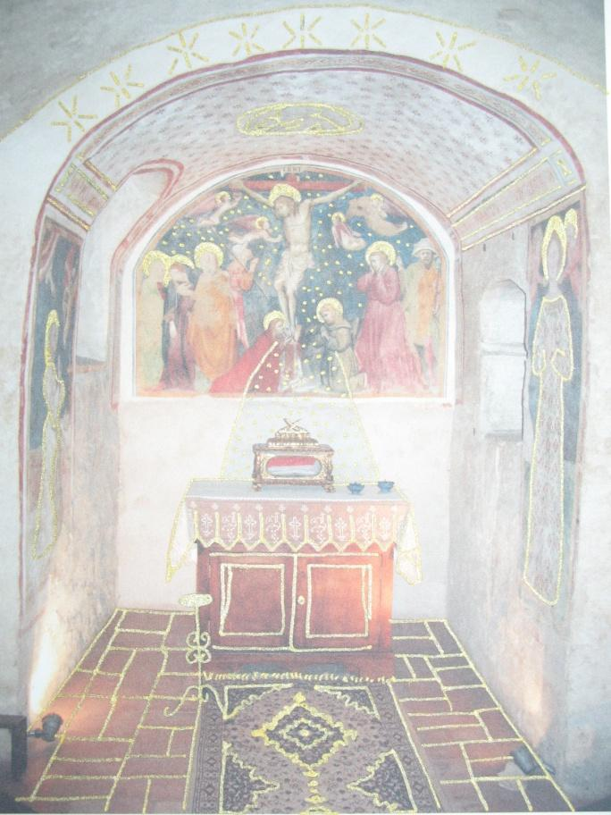A mixed media piece I did. It is taken from a photo of the chapel in which Angelina prayed, at the Casa Beata Angelina in Foligno. This room has remained unchanged for 700 years.