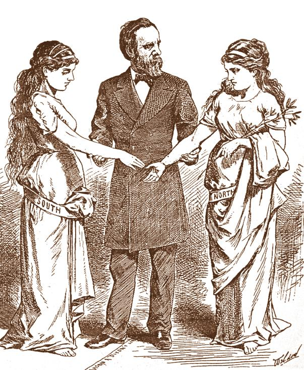 The Warrior Politician R U T H E R F O R D B. H A Y E S This 1878 illustration shows President Hayes trying to reunite the North and South after the Civil War.