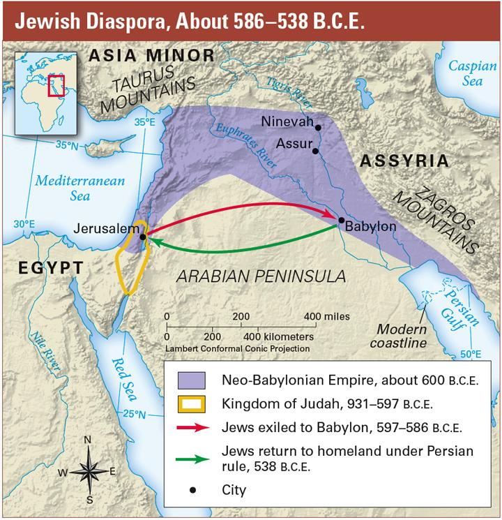 Many Jews were exiled from their homeland to Babylon at the start of the Jewish Diaspora. In 539 B.C.E., the Persians conquered the Babylonians. The Persian king, Cyrus, ended the Jews exile.