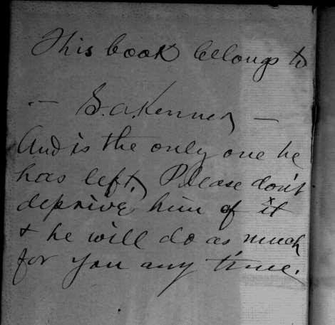 Handwritten inscription in his book The Practical