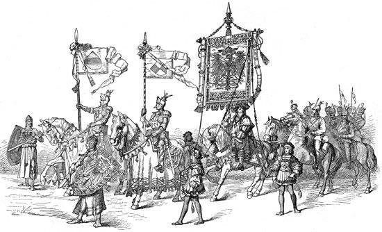 Knights= heavily armored soldiers on horses.