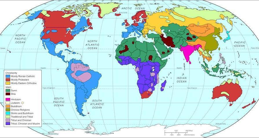 What is the correlation between this World Religion map and the Language Family map?