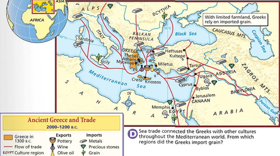 Greece s lack of natural resources and location on the Mediterranean Sea encouraged Greek trade with
