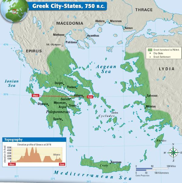 The Greek people were divided into independent city-states