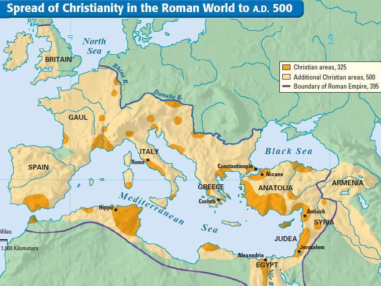 Christianity spread quickly due to roads, numerous trade routes, and common language throughout