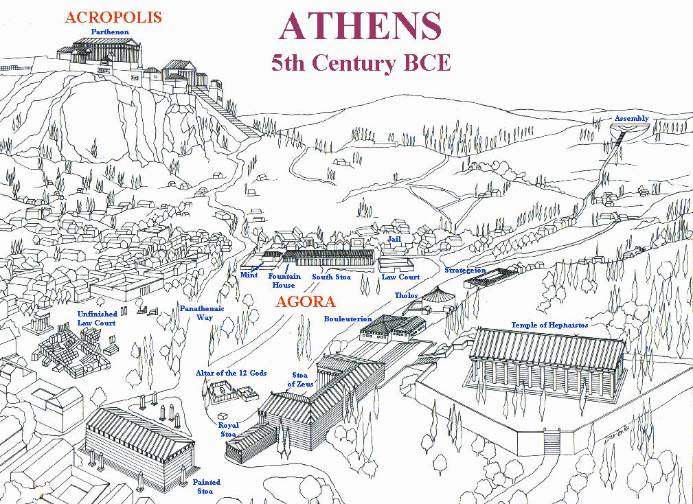Greek city-states had an agora (a massive marketplace) that was the center for trade and