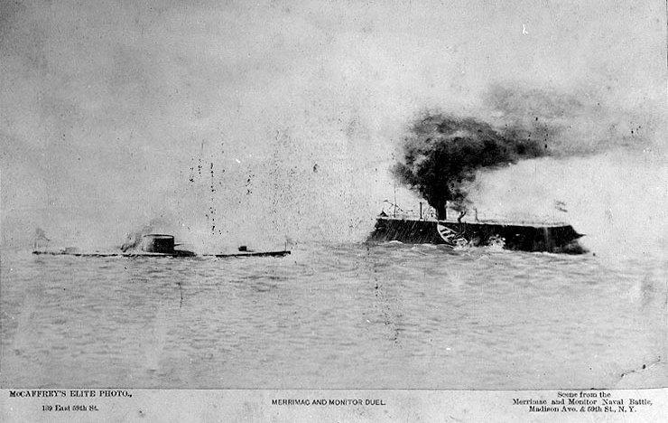 USS Monitor on the left approaches