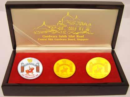 Chapter 8 Major Celebrations at Gurdwara Silat Road Complex A set of commemorative coins celebrating the 150th anniversary Commemorative coins (gold, silver and gold-plated copper), CDs on the life