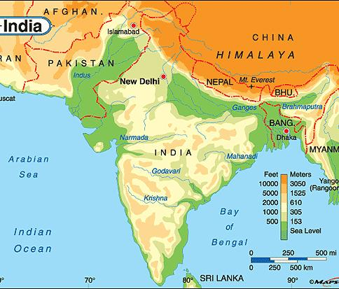Geography Rivers (Indus and Ganges) provided water and