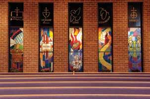 The Covenant Windows A series of windows along the north side of the Worship Room depicts important elements of the VBC covenant, which can be found on the inside back cover Covenant Window Rainbow: