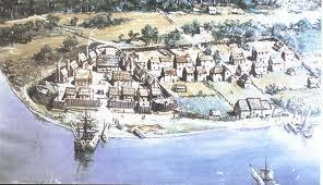 The colonists decided to build their settlement on a peninsula (easy to defend