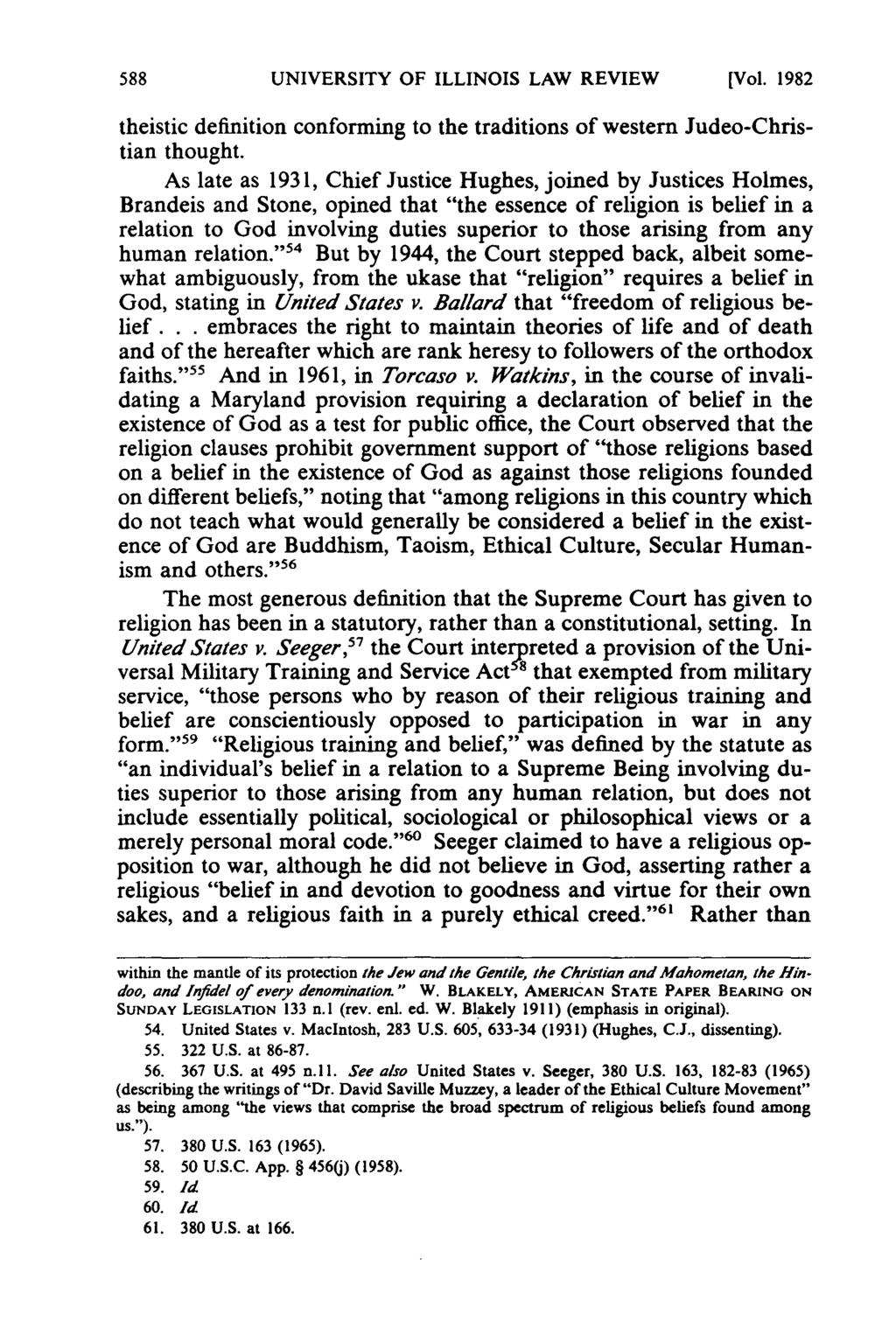 UNIVERSITY OF ILLINOIS LAW REVIEW [Vol. 1982 theistic definition conforming to the traditions of western Judeo-Christian thought.
