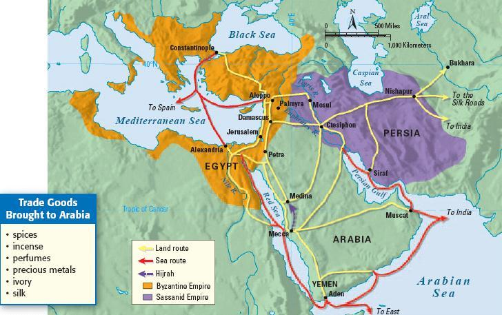 But, Arabia, Arabia was the the Birthplace intersection of of 3 Islam continents (Africa, Asia, & Europe) so it was an important region for trade & had lots of cultural diffusion One of