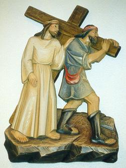 Station #5 Simon of Cyrene helps Jesus carry His cross. Sometimes You ask me to be a Simon. When I endure trials willingly for the sake of loving others, I am carrying Your Cross with You.