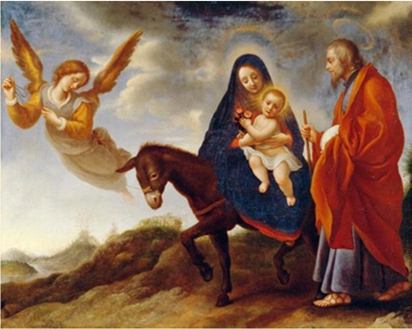 The Holy Family had to flee to Egypt to escape the murderous wrath of King Herod. Jesus is placed in the tomb. The flight into Egypt (Matthew 2:13-15) Soon the sword of sorrow strikes.