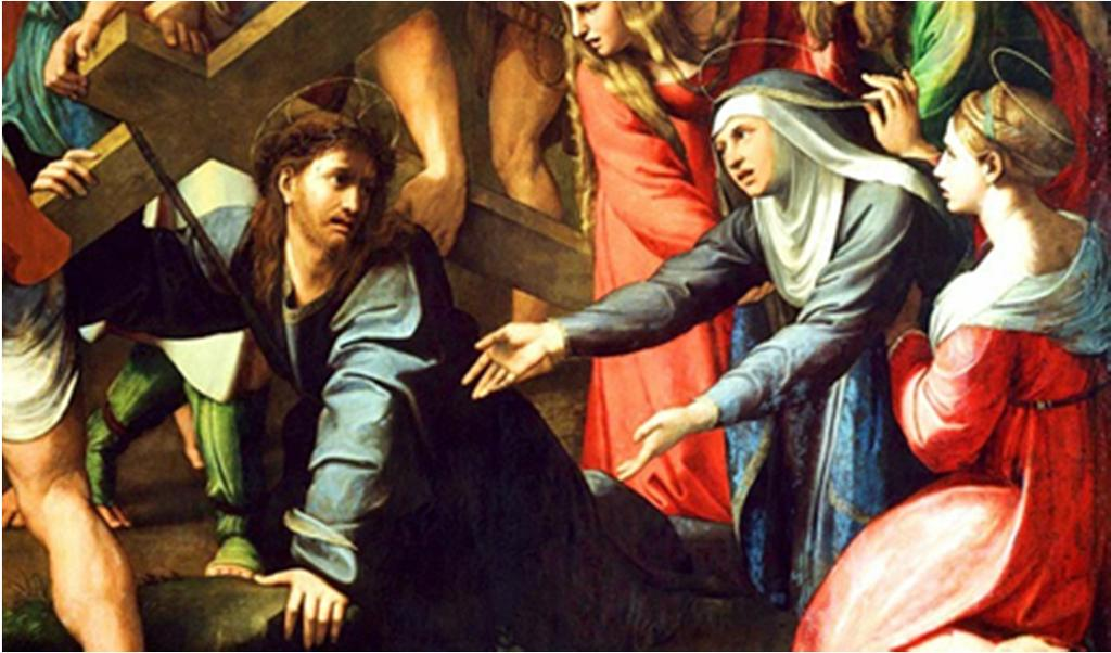 Mary and Jesus meet on the way to Calvary when He is carrying His cross. The Crucifixion of our Lord when Mary stood at the foot of the cross.