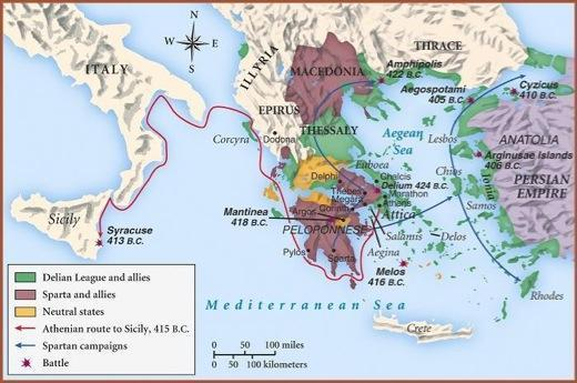 Sparta Defeats Athens The Peloponnesian War nearly destroyed Athens.