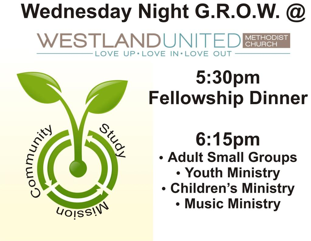 Wednesday Night GROW starts back on AUGUST 6th We will have a kick off celebration with grilled out hamburgers and hotdogs. Plus we will have inflatables for the kids.