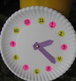 6 Craft Learning Activity: Countdown Clock (Grades K-2) Preparations: Paper plate for each child; round stickers; two clock hands cut from construction paper; and a paper brad.