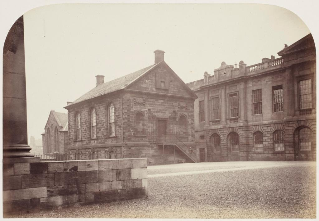 10. The University Library [left] and south end of the Hamilton Building [right]. Behind the Library can be seen part of Blackfriars Church. The Library was erected in 1732-1744.