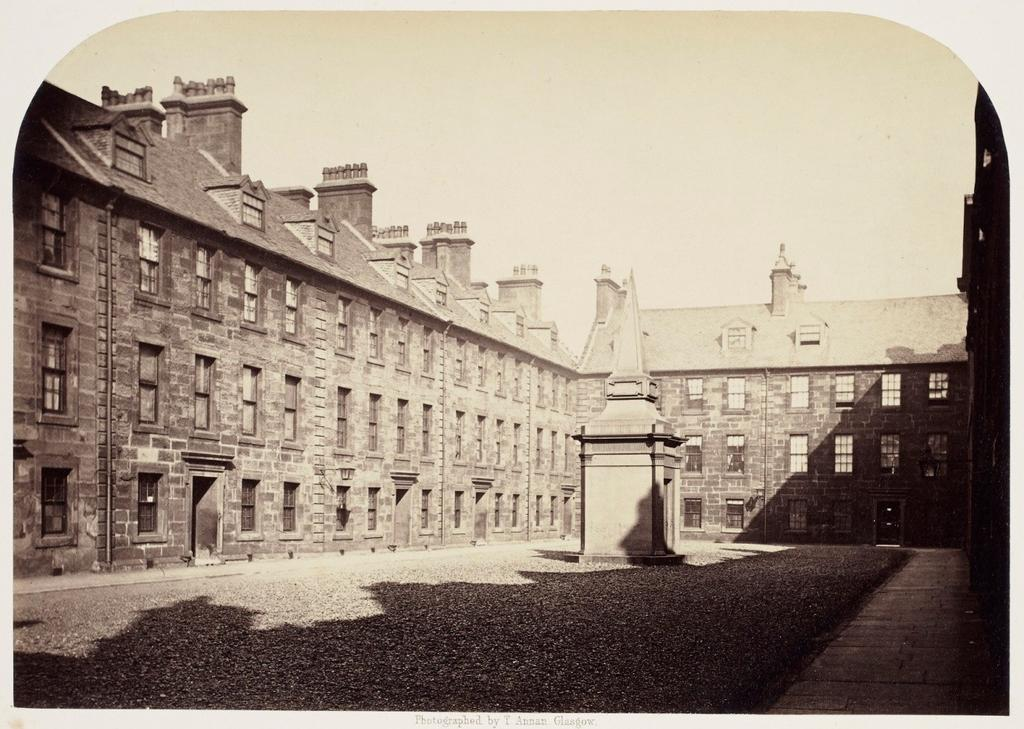 12. Professors Court. Adam Smith lived in one of the three houses on the left 1757-1762 and the house to the left facing front 1762-1764.