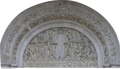 The Romanesque Style Exterior decoration (sculpture) Lack of interior light Portal (doorway) Jamb, capital, trumeau Tympanum (mandorla, archivolts) Church of Sainte Madeleine at Vézelay 9.