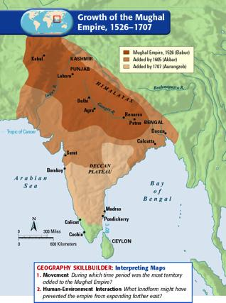 Mughal India Established in North India.