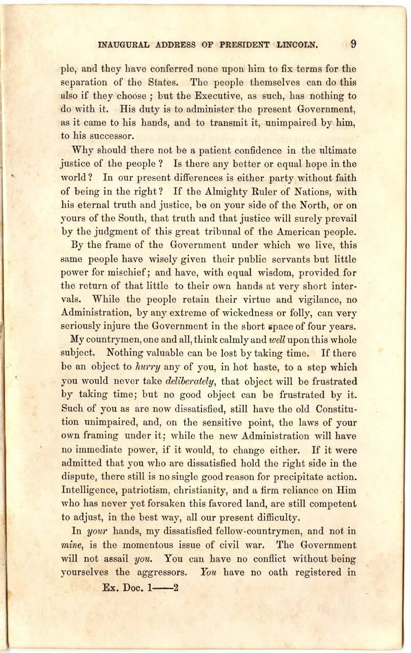 10 Abraham Lincoln, First Inaugural Address, March